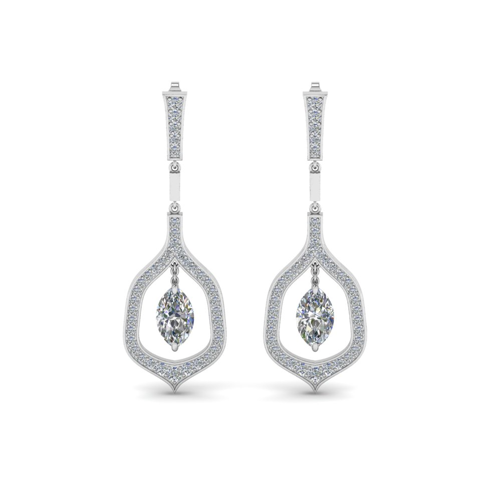 Pave Marquise Cut Diamond Drop Earring