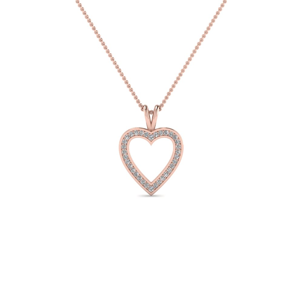 pave open heart diamond pendant necklace in 14K rose gold FDHPD100 NL RG