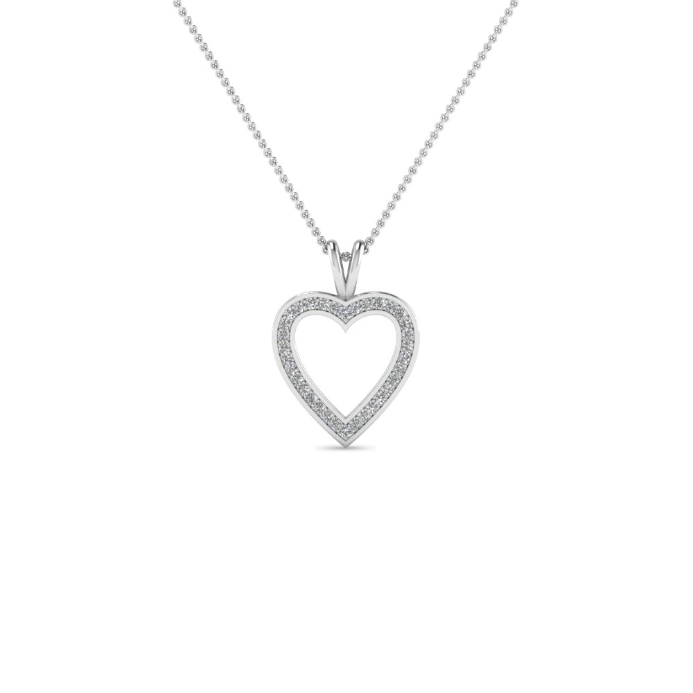 Shop for custom designed heart pendants fascinating diamonds heart pendants with white diamond in 14k white gold mozeypictures Choice Image