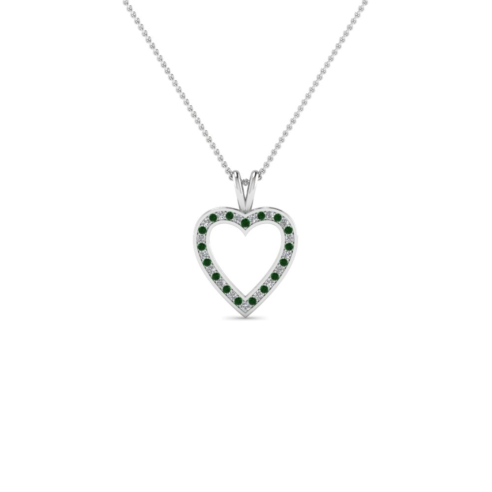 pave open heart diamond pendant necklace with emerald in 950 Platinum FDHPD100GEMGR NL WG
