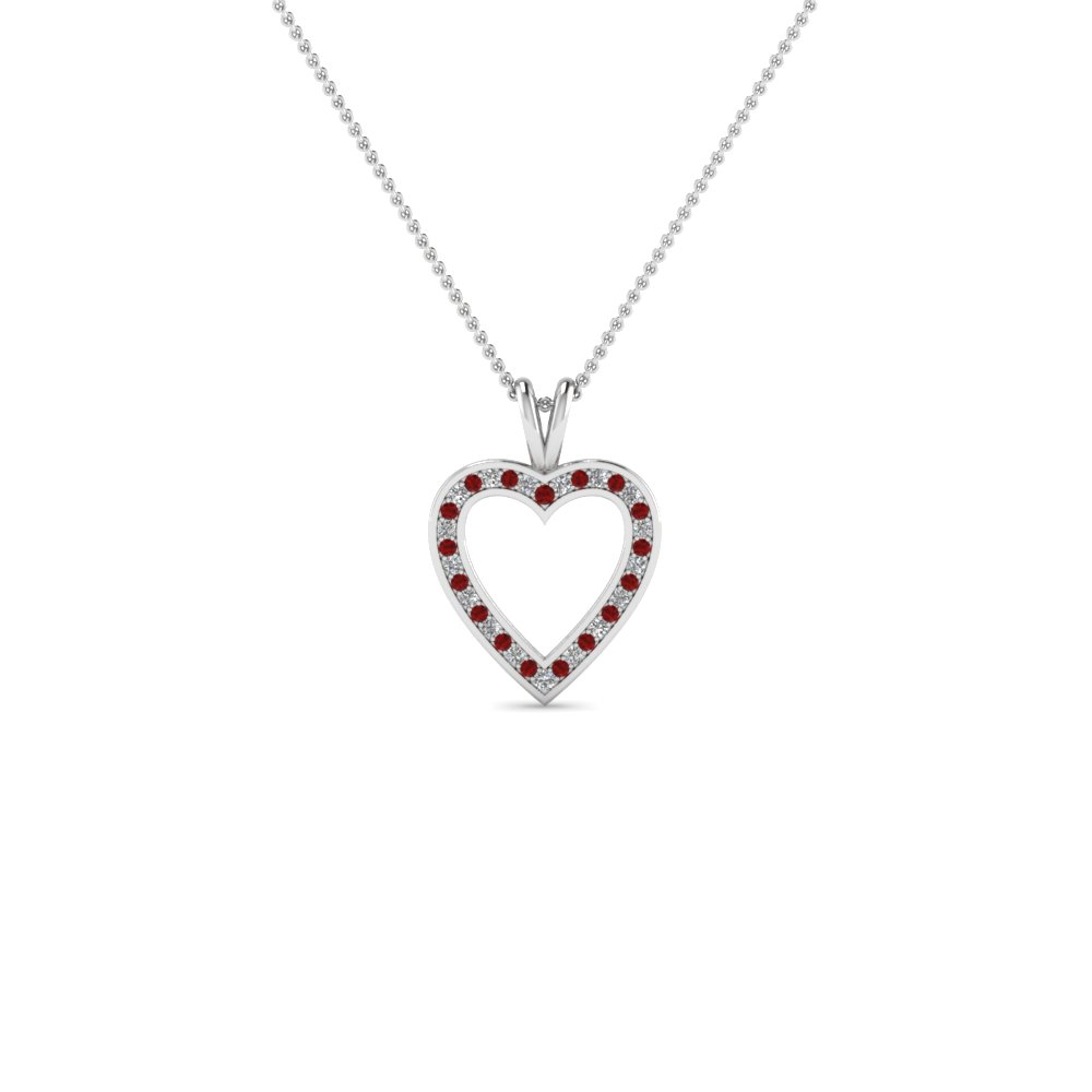 pave open heart diamond pendant necklace with ruby in 14K white gold FDHPD100GRUDR NL WG