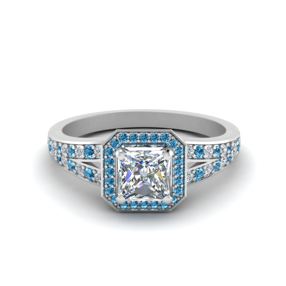 Blue Topaz Pave Diamond Ring