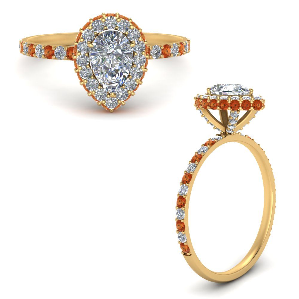 pave-rollover-pear-diamond-halo-engagement-ring-with-orange-sapphire-in-FD9376PERGSAORANGLE3-NL-YG