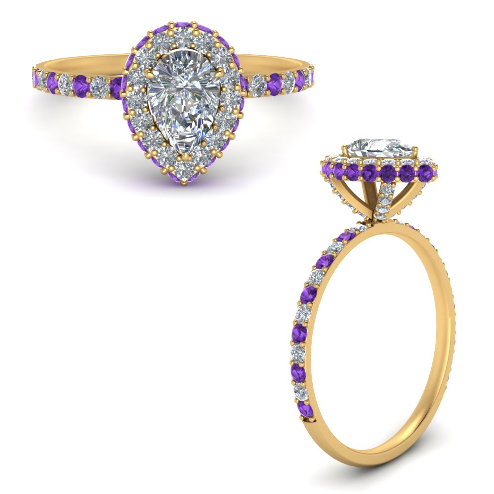 pave-rollover-pear-diamond-halo-engagement-ring-with-purple-topaz-in-FD9376PERGVITOANGLE3-NL-YG