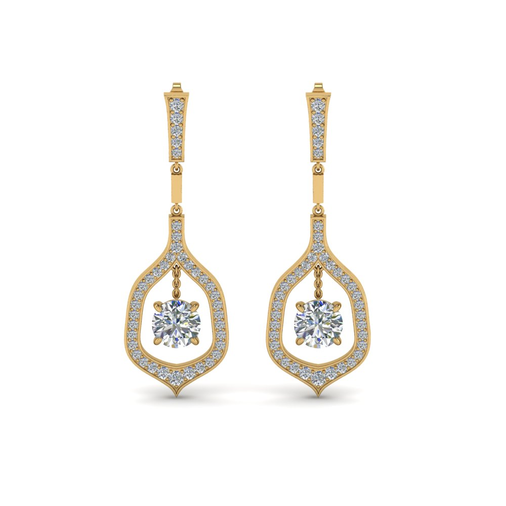 pave round cut diamond drop earring in FDEAR8441ROANGLE1 NL YG