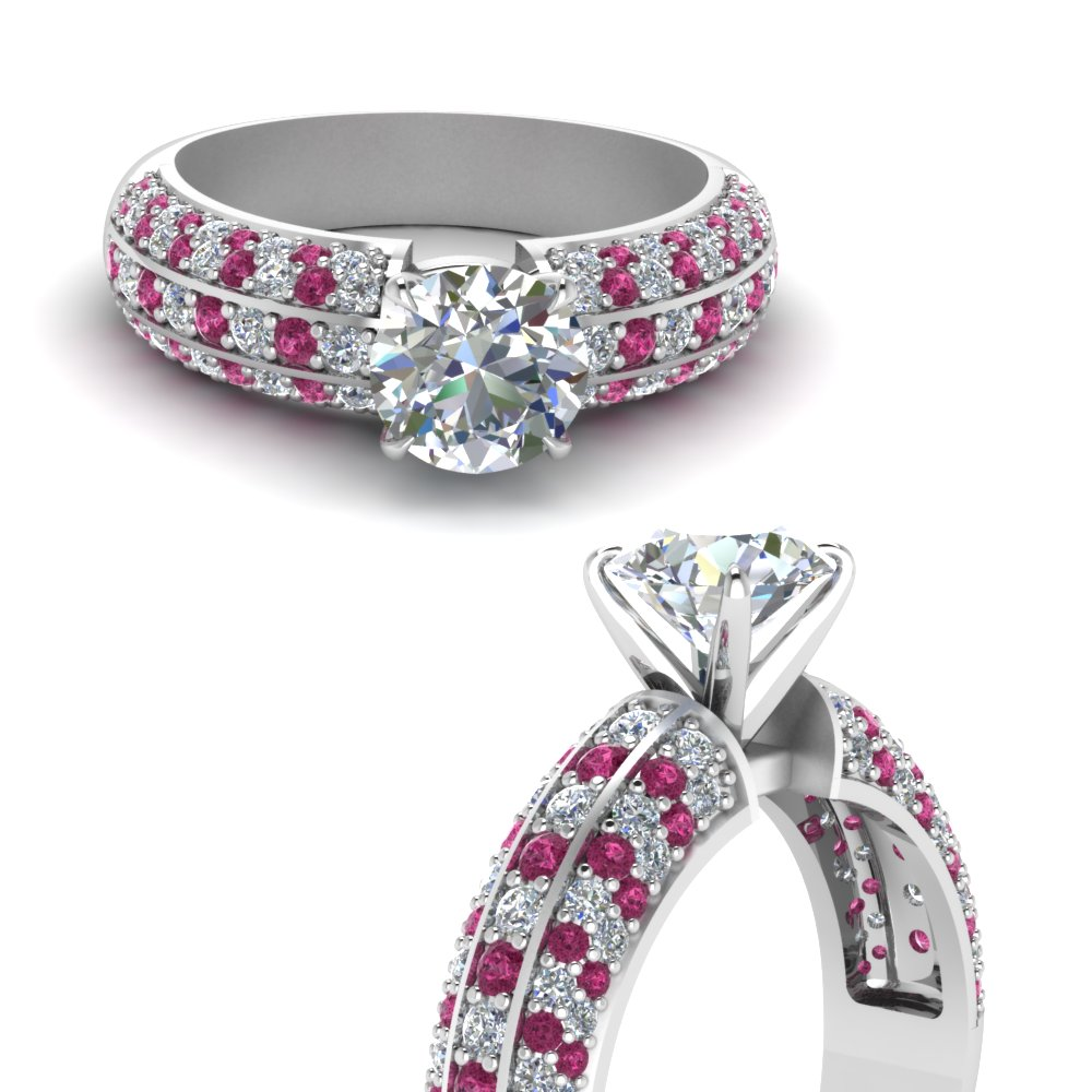 multi row pave diamond engagement ring with pink sapphire in FD121671RORGSADRPIANGLE3 NL WG.jpg