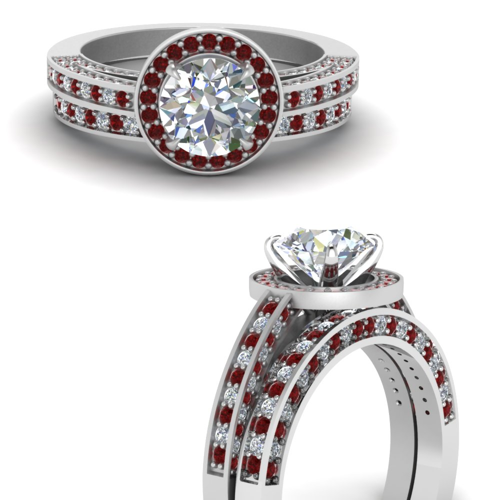 pave round diamond halo wedding ring set with ruby in FDENS3282ROGRUDRANGLE3 NL WG.jpg
