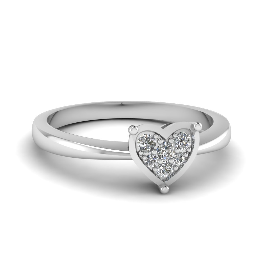 Pave Set Diamond Heart Promise Ring In 14K White Gold | Fascinating ...