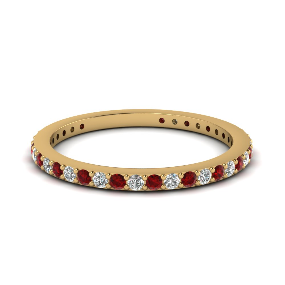 Delicate Diamond Wedding Band With Ruby In 14K Yellow Gold