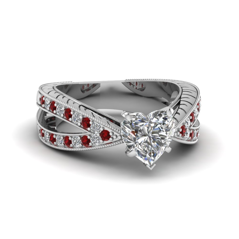 pave split band 1 ct. heart shaped antique diamond engagement ring with ruby in 14K white gold FDENR7428HTRGRUDR NL WG