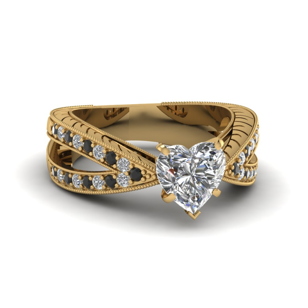pave split band 1 ct. heart shaped antique engagement ring with black diamond in 14K yellow gold FDENR7428HTRGBLACK NL YG