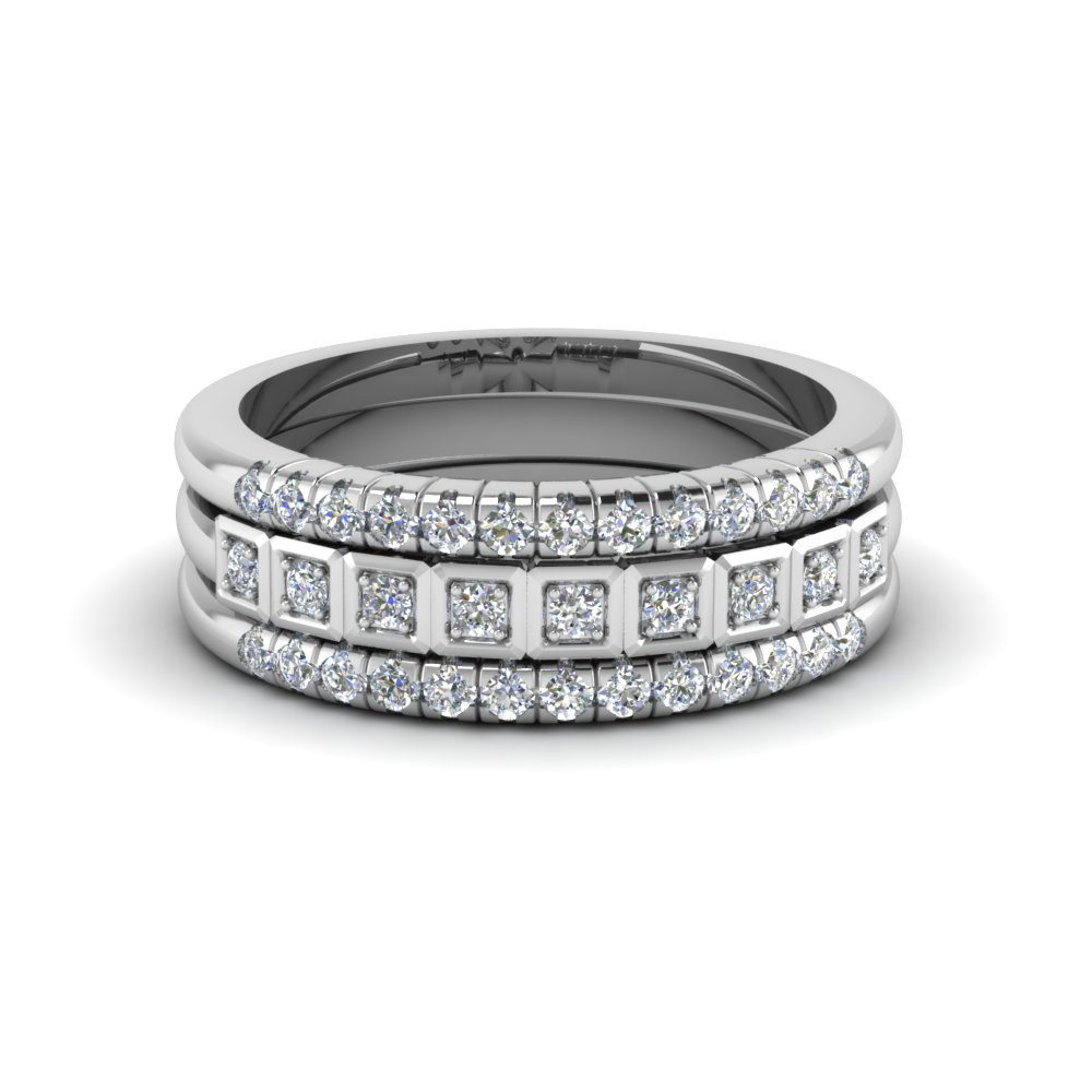 Pave Stacked Diamond Womens Wedding Ring Band In 14k White Gold Fd8130b Nl Wg