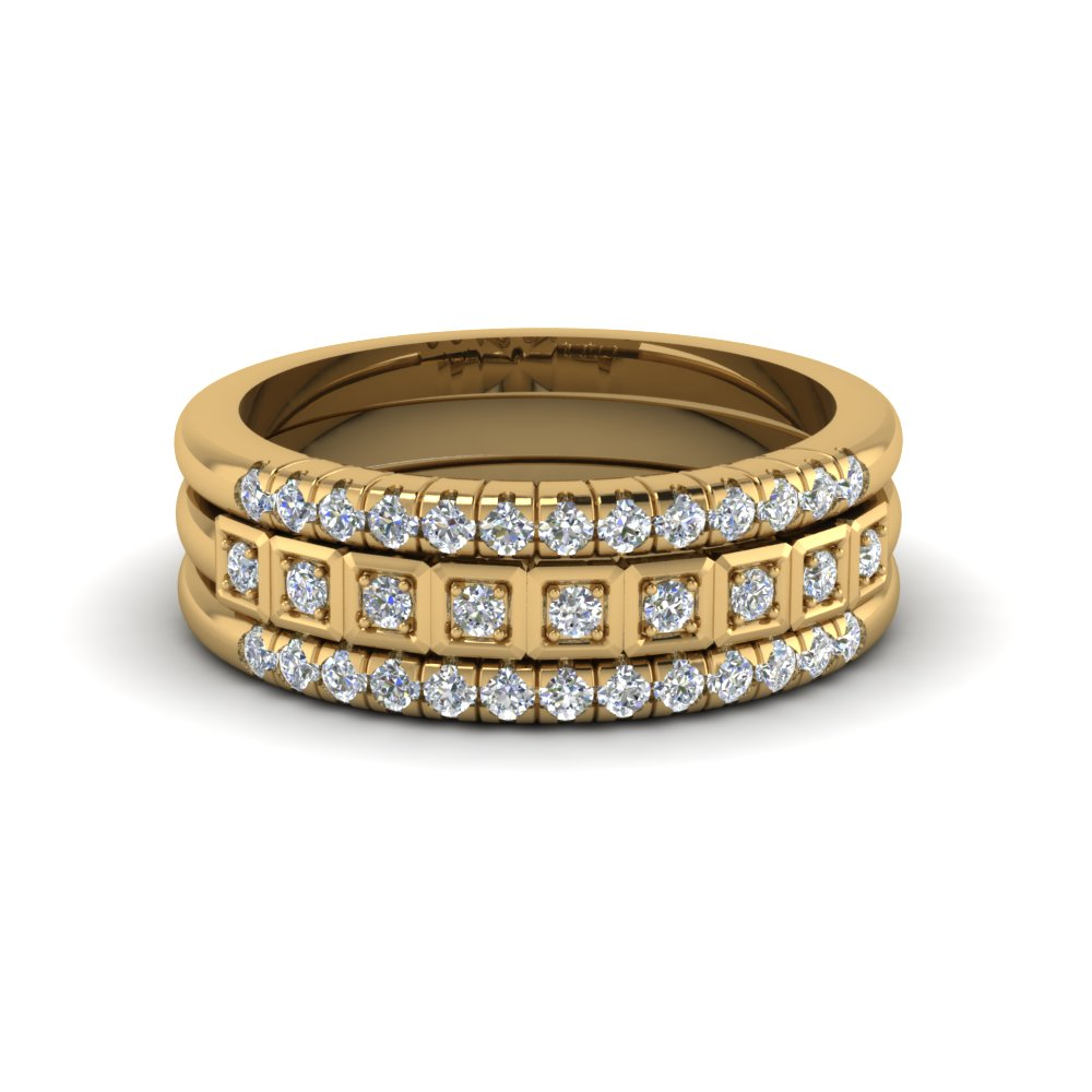 Yellow Gold French Pave Diamond Stacking Rings