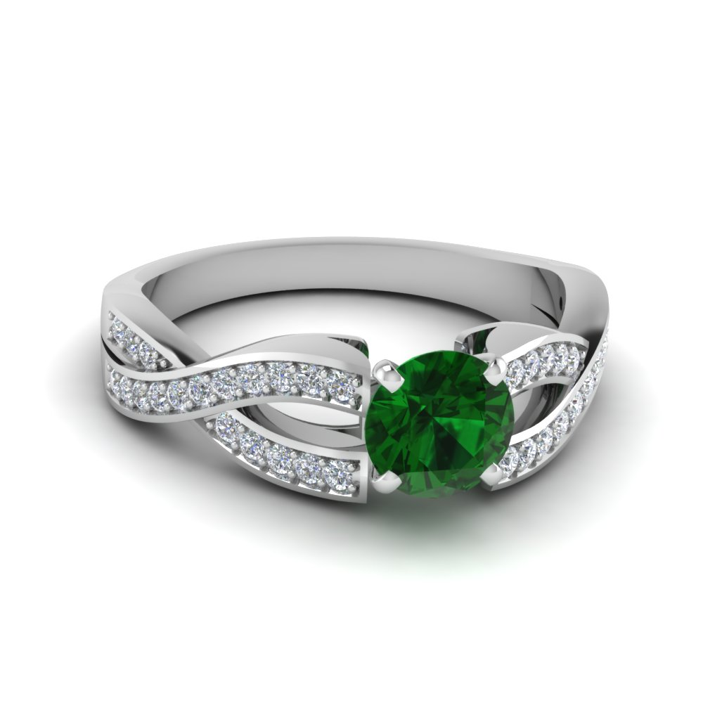 Pave Twist Emerald Platinum Ring