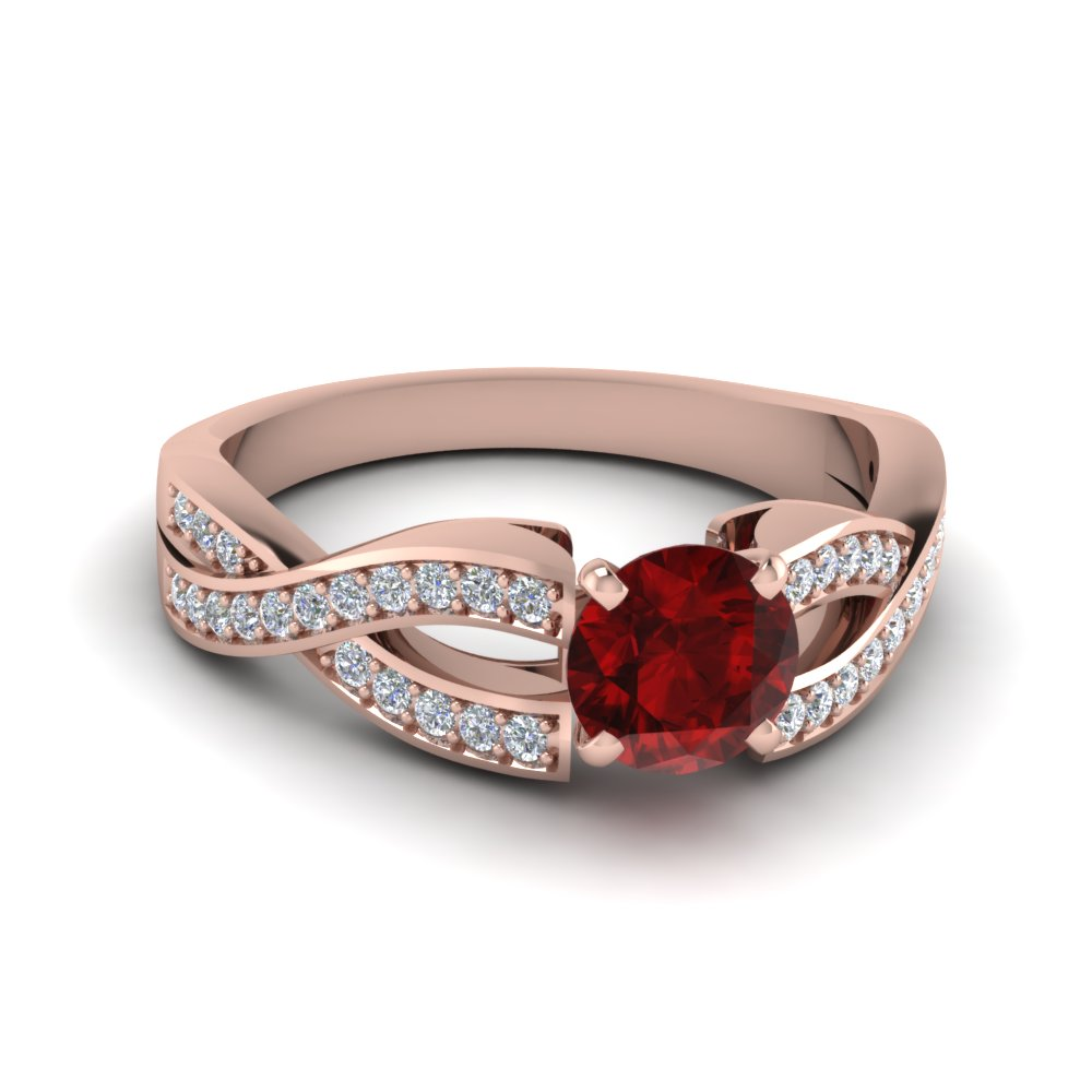 Pave Twist Ruby Ring