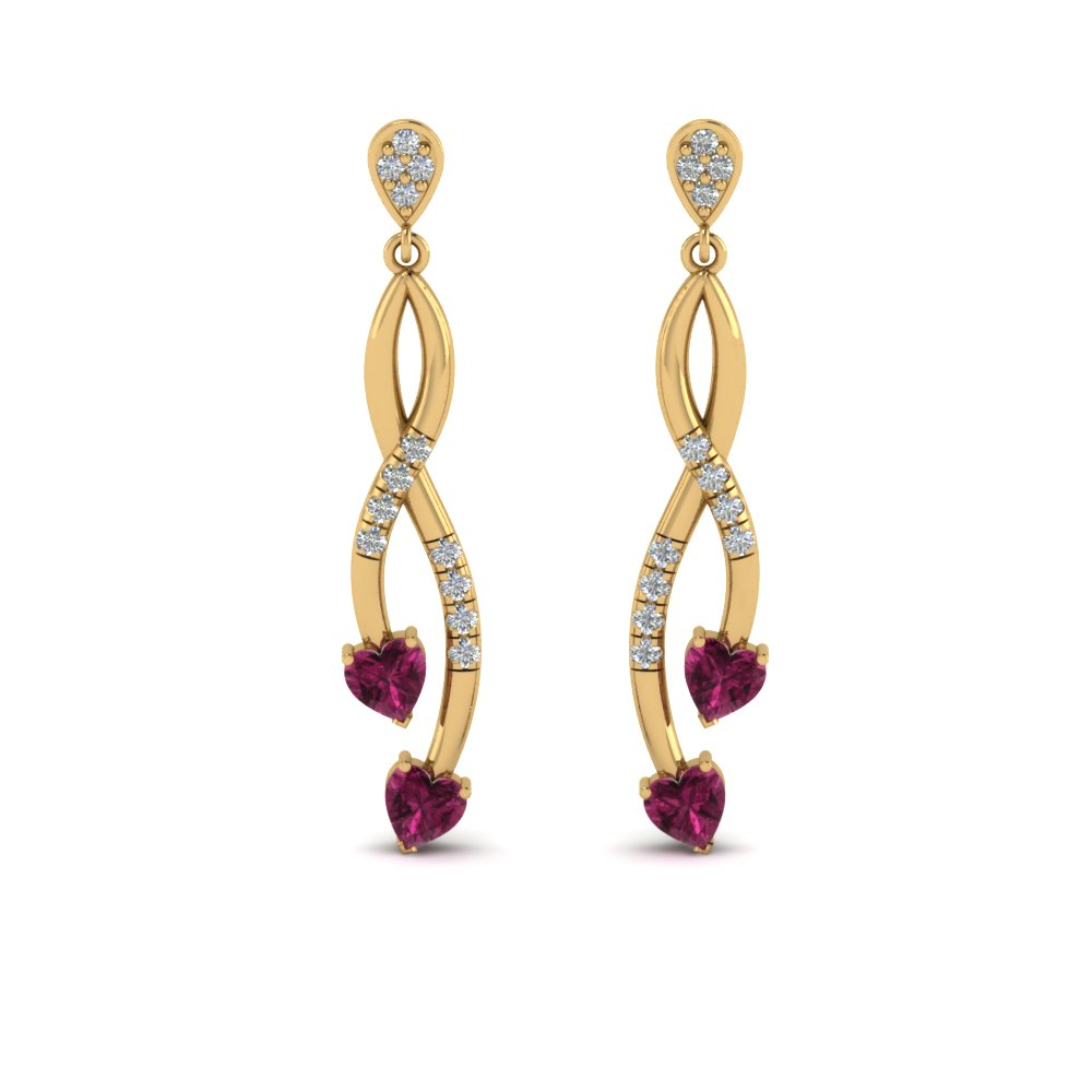 14K Yellow Gold Pink Sapphire Twist Heart Earring