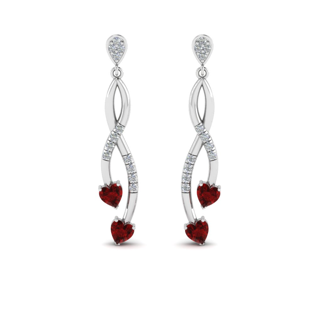 Ruby Twist Heart Drop Earring