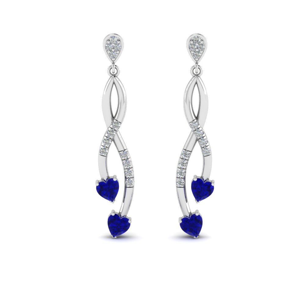 2b7fdadec Pave Twist Sapphire Heart Drop Diamond Earring In 14K White Gold ...