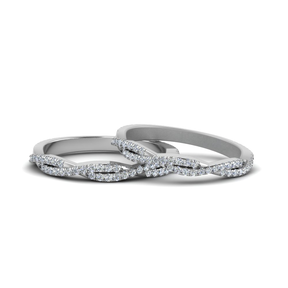 Pave Twisted Diamond Lesbian Band In 14K White Gold