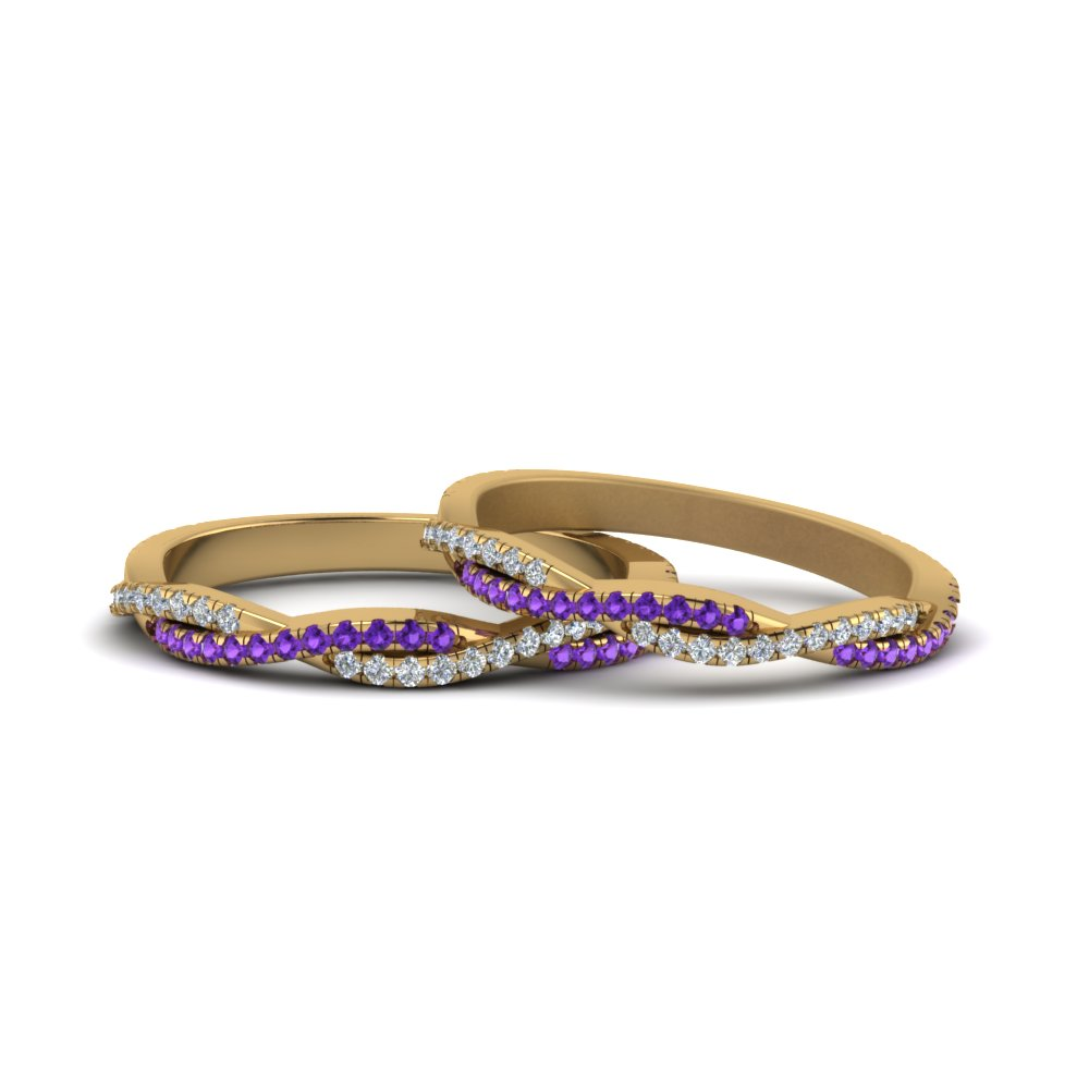 b7bbbe07f8 Pave Twisted Diamond Lesbian Band With Violet Topaz In 14K Yellow ...