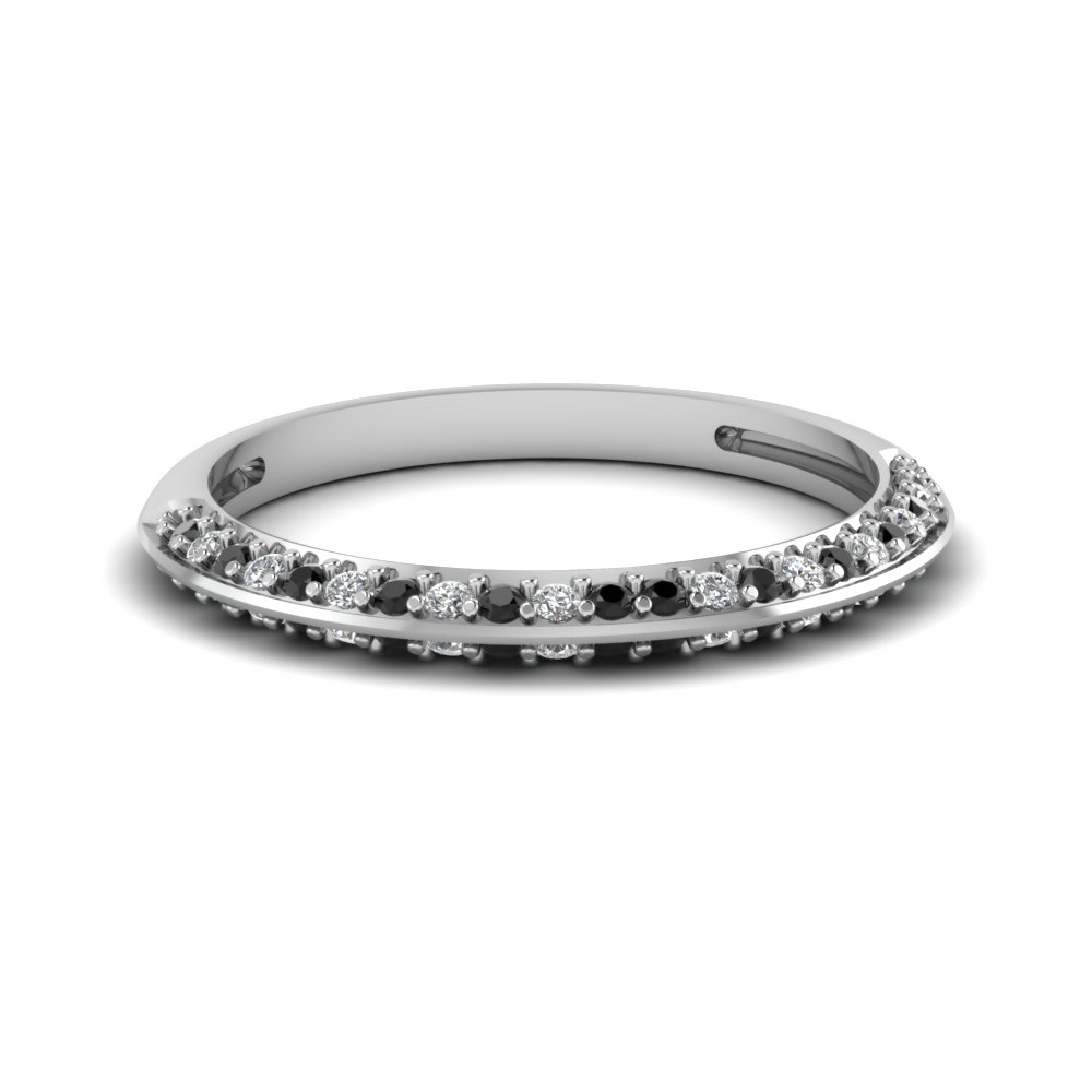 Pave Wedding Anniversary Women Band With Black Diamond In 18K White ...