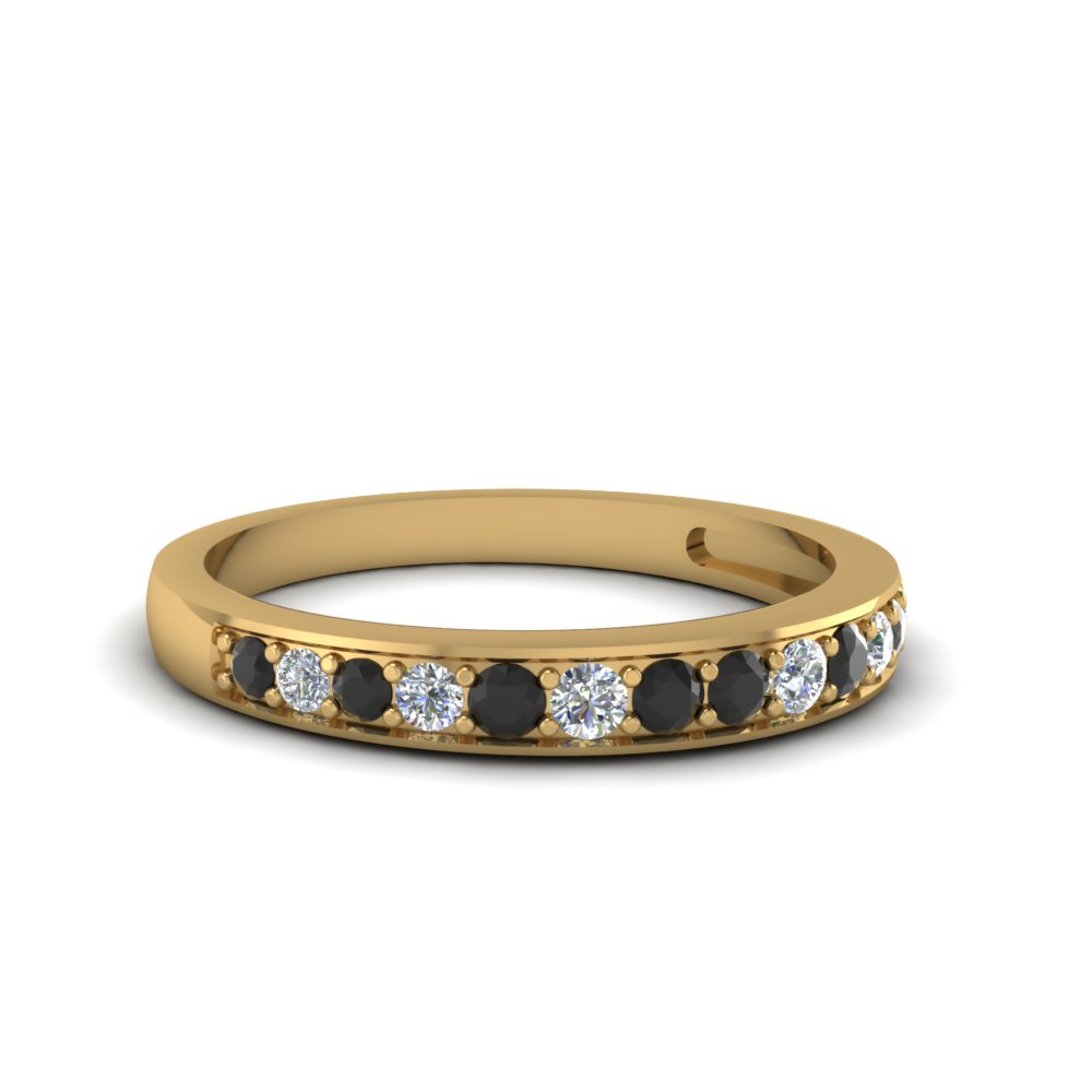 pave wedding band setting for women with black diamond in 18K yellow gold FDENS3002BGBLACK NL YG