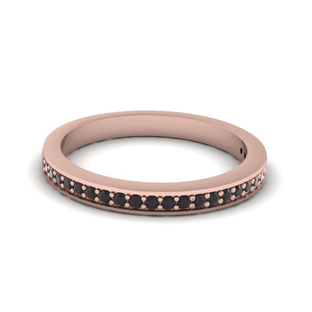 pave wedding bands white diamond with black diamond in 14K rose gold FDENS3195BGBLACK NL RG
