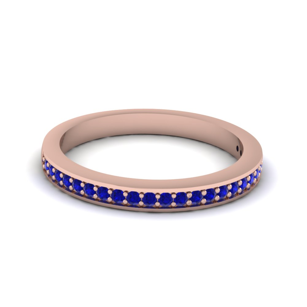 Thin Pave Round Sapphire Wedding Band For Men in Rose Gold