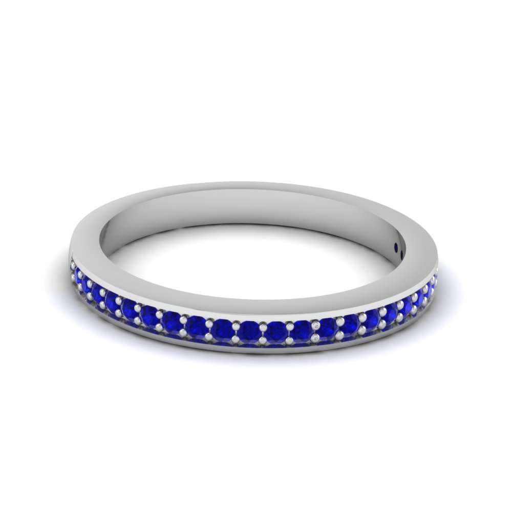 Thin Pave Wedding Band With Sapphire In 950 Platinum | Fascinating ...