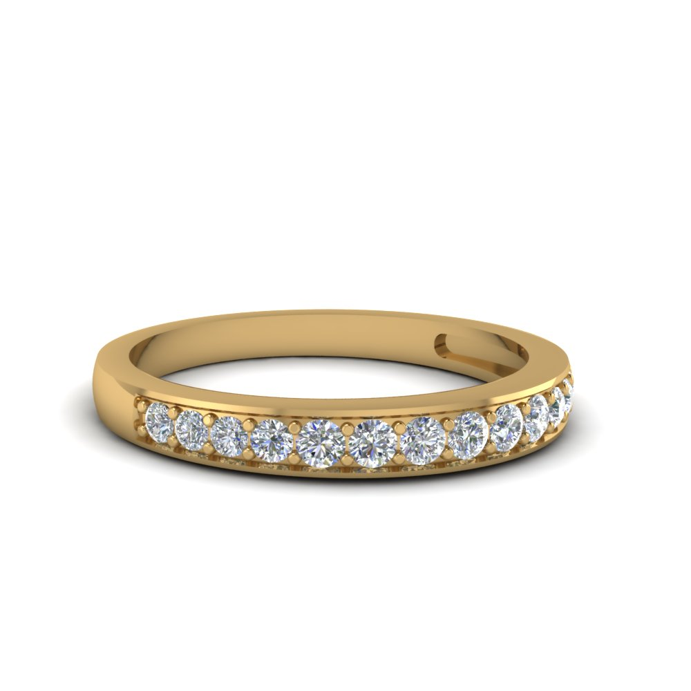 Yellow Gold Diamond Wedding Band For Her