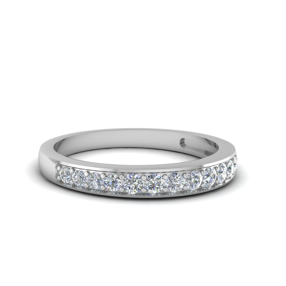 pave wedding diamond band setting for women in 950 Platinum FDENS3002B NL WG