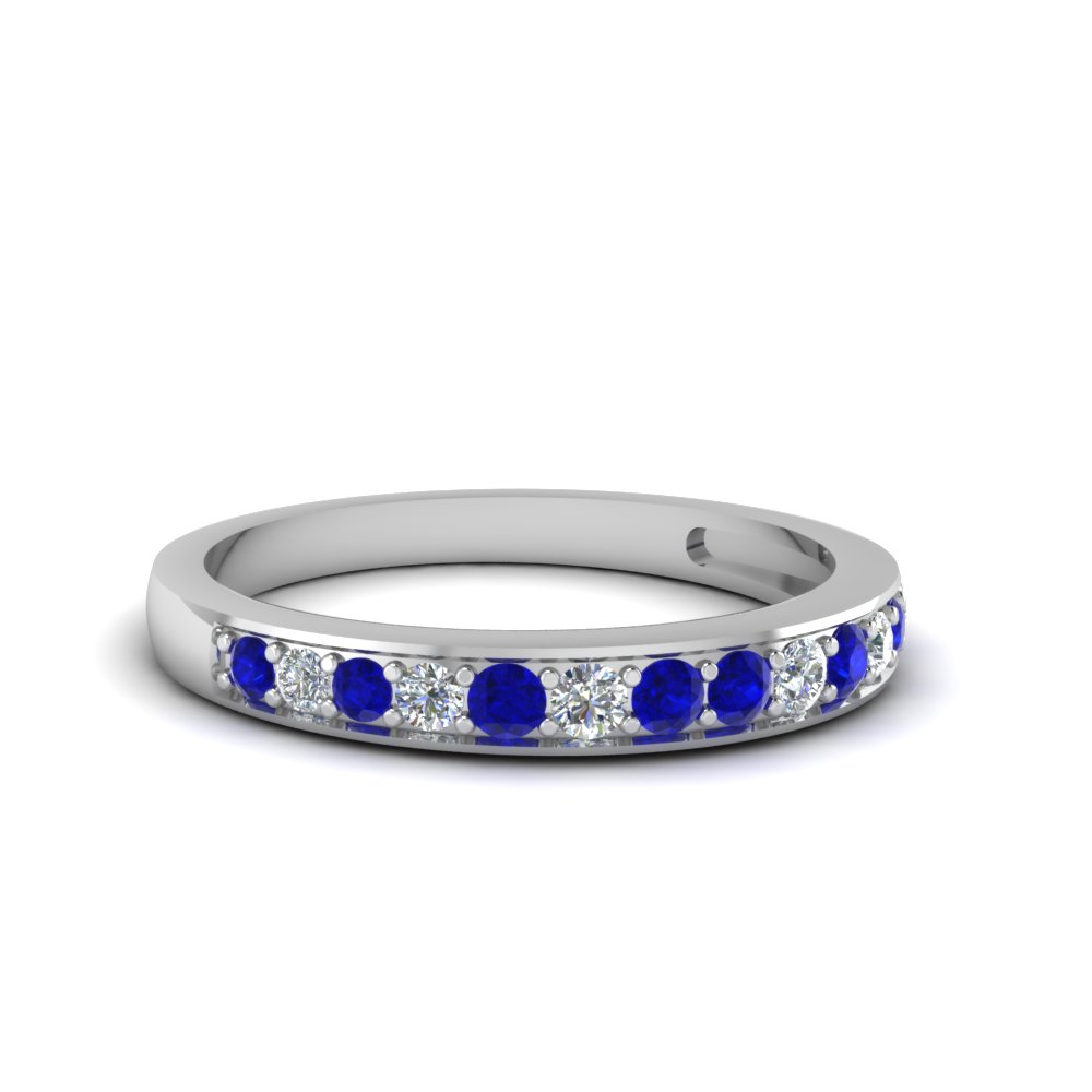 pave wedding diamond band setting for women with blue sapphire in 14K white gold FDENS3002BGSABL NL WG