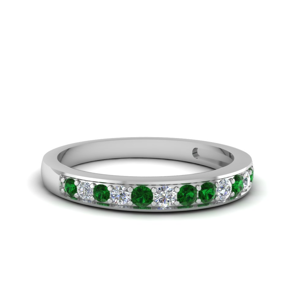 pave wedding diamond band setting for women with emerald in 18K white gold FDENS3002BGEMGR NL WG