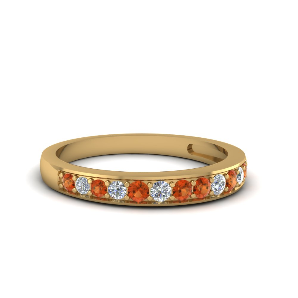 pave wedding diamond band setting for women with orange sapphire in 14K yellow gold FDENS3002BGSAOR NL YG