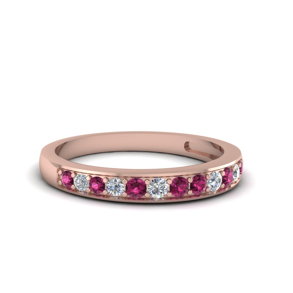 pave wedding diamond band setting for women with pink sapphire in 14K rose gold FDENS3002BGSADRPI NL RG