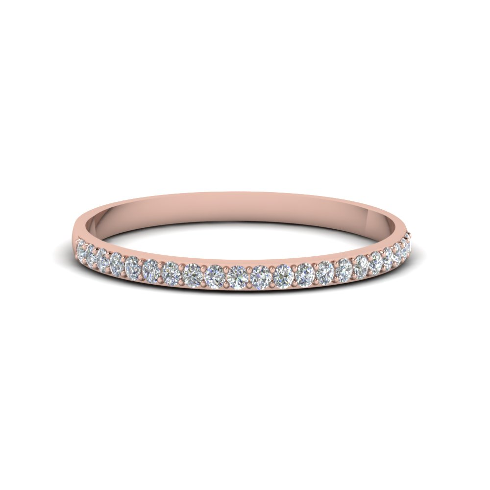 pave women diamond wedding band in 14K rose gold FDENS3131B NL RG