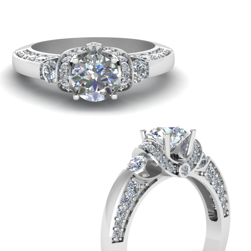 pave wrap antique design diamond engagement ring in FDENR8925RORANGLE3 NL WG.jpg
