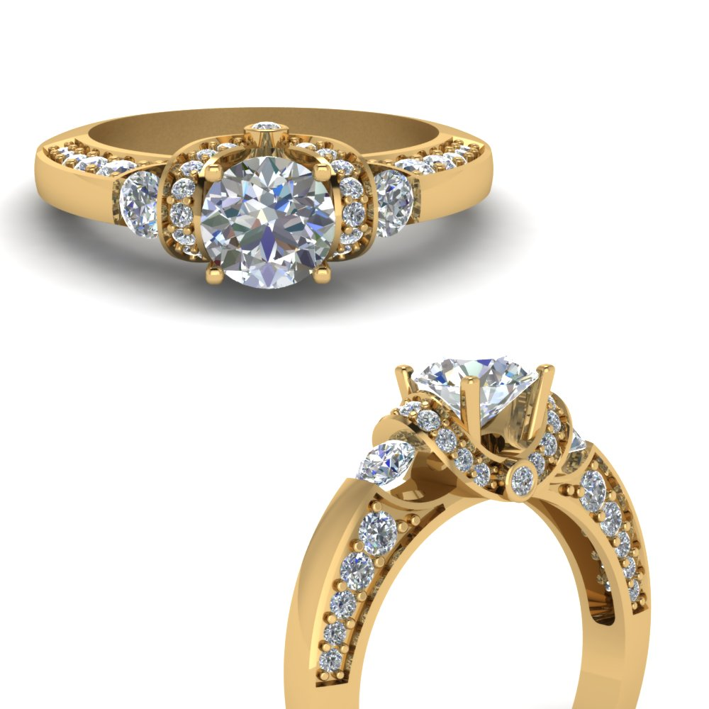pave wrap antique design diamond engagement ring in FDENR8925RORANGLE3 NL YG.jpg