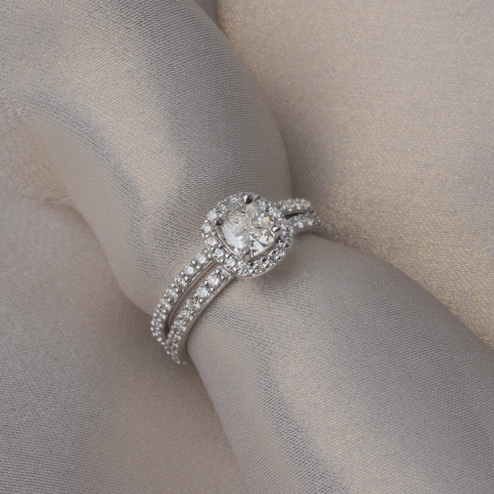 pave wrap diamond halo bridal ring set in 14K white gold FD8507CUANGLE4