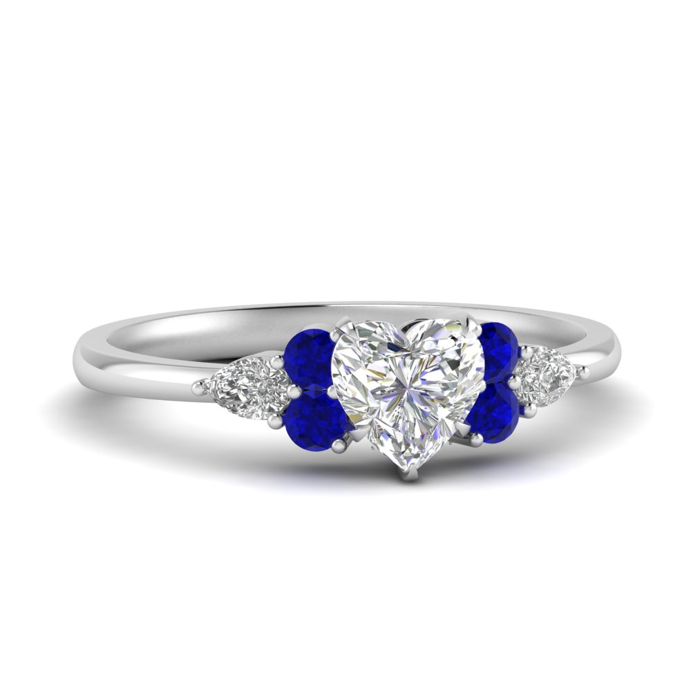 Pear Accented Heart Shaped Moissanite Ring With Sapphire In 14k White Gold Fascinating Diamonds