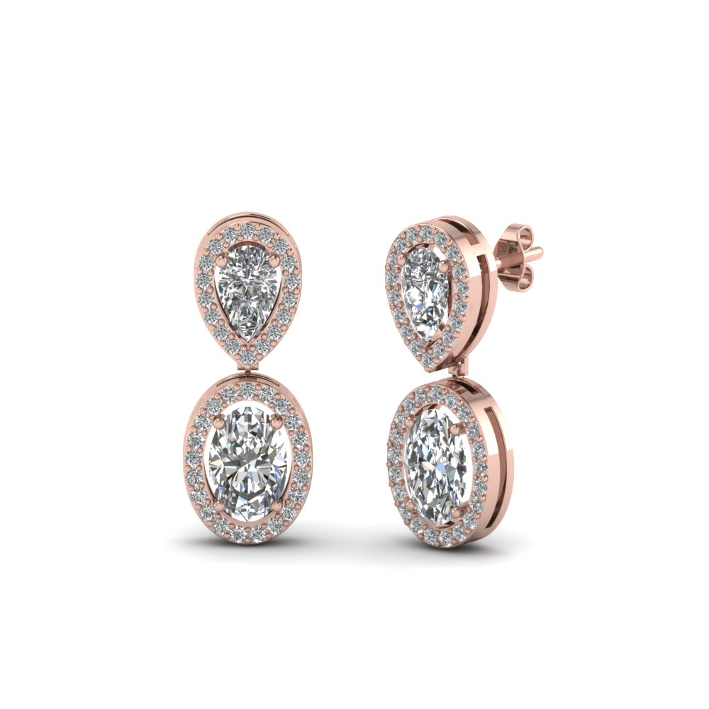 Pear And Oval Halo Diamond Earring For Women In 14K Rose Gold