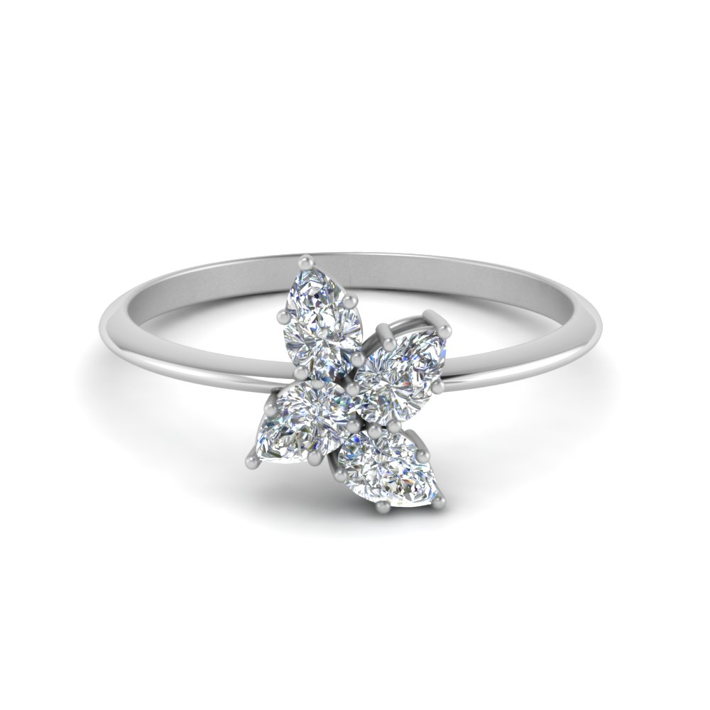 pear diamond cluster ring in FD8545 NL WG