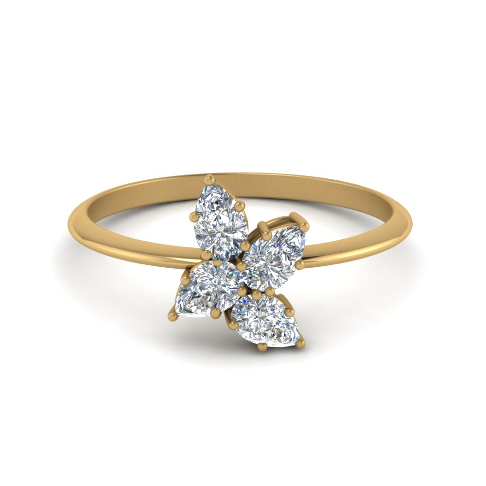 Pear Diamond Cluster Ring Gold