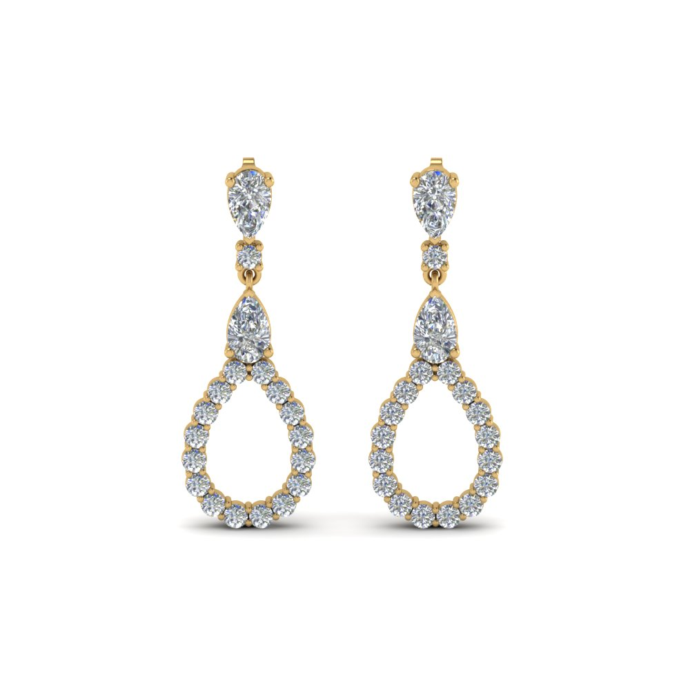 Pear Style Diamond Drop Earring
