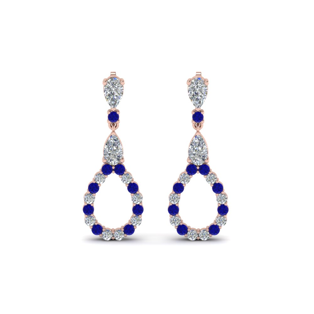 pear diamond drop earring for women with blue sapphire in 14K rose gold FDEAR8106GSABLANGLE1 NL RG