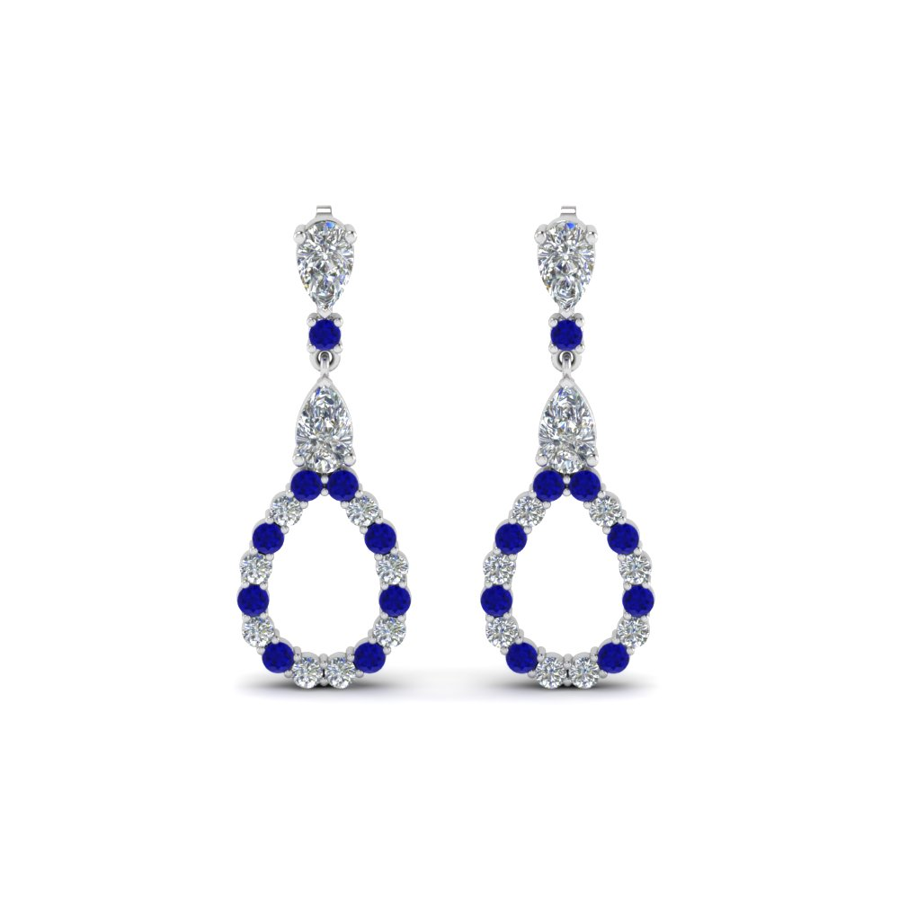 pear diamond drop earring for women with blue sapphire in 14K white gold FDEAR8106GSABLANGLE1 NL WG