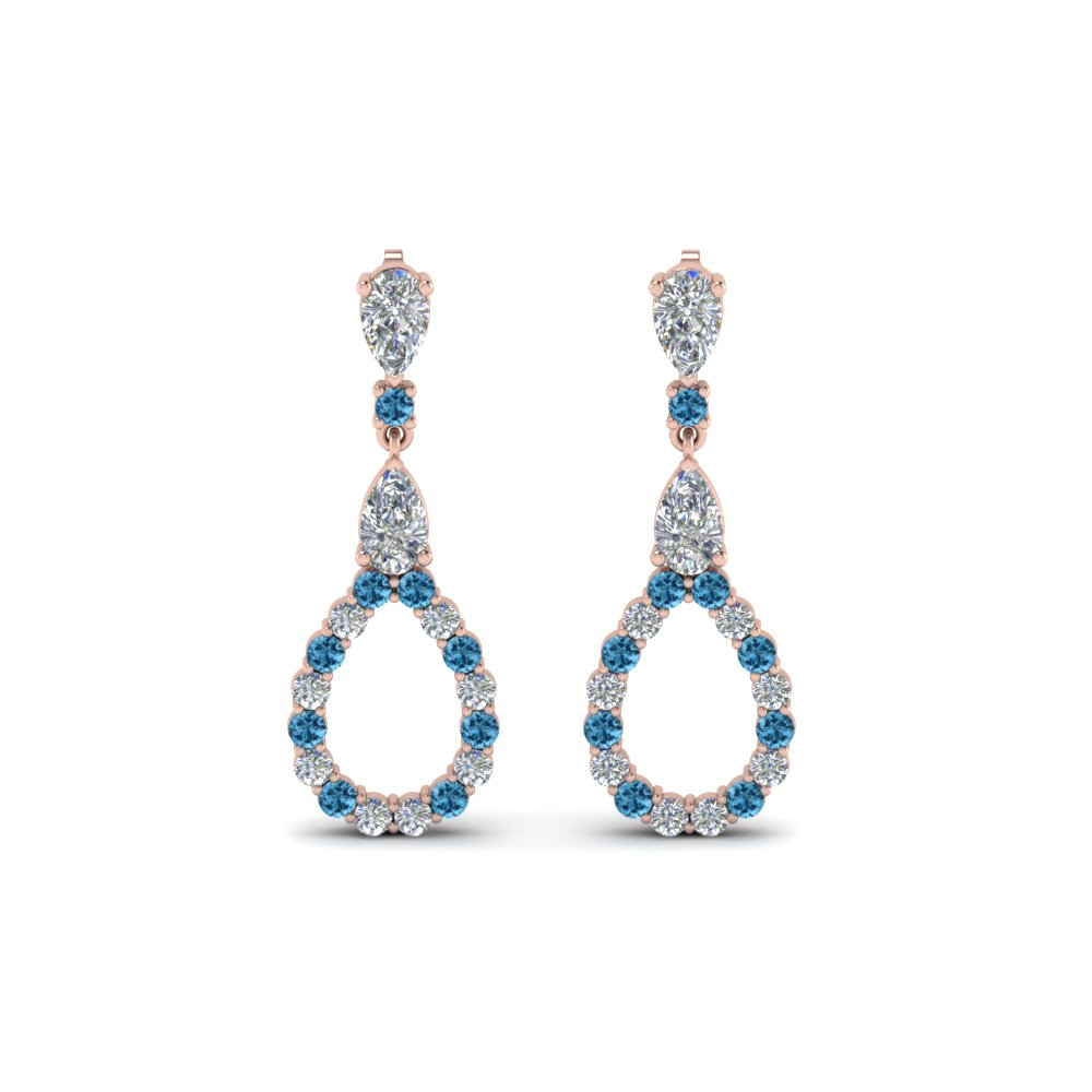 Pear Diamond Drop Earring For Women With Ice Blue Topaz In 14K Rose Gold