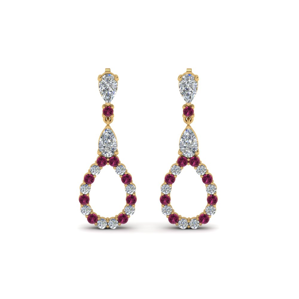 Pear Diamond Drop Earring For Women With Pink Sapphire In 14K Yellow Gold