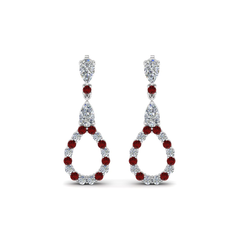 pear diamond drop earring for women with ruby in 14K white gold FDEAR8106GRUDRANGLE1 NL WG
