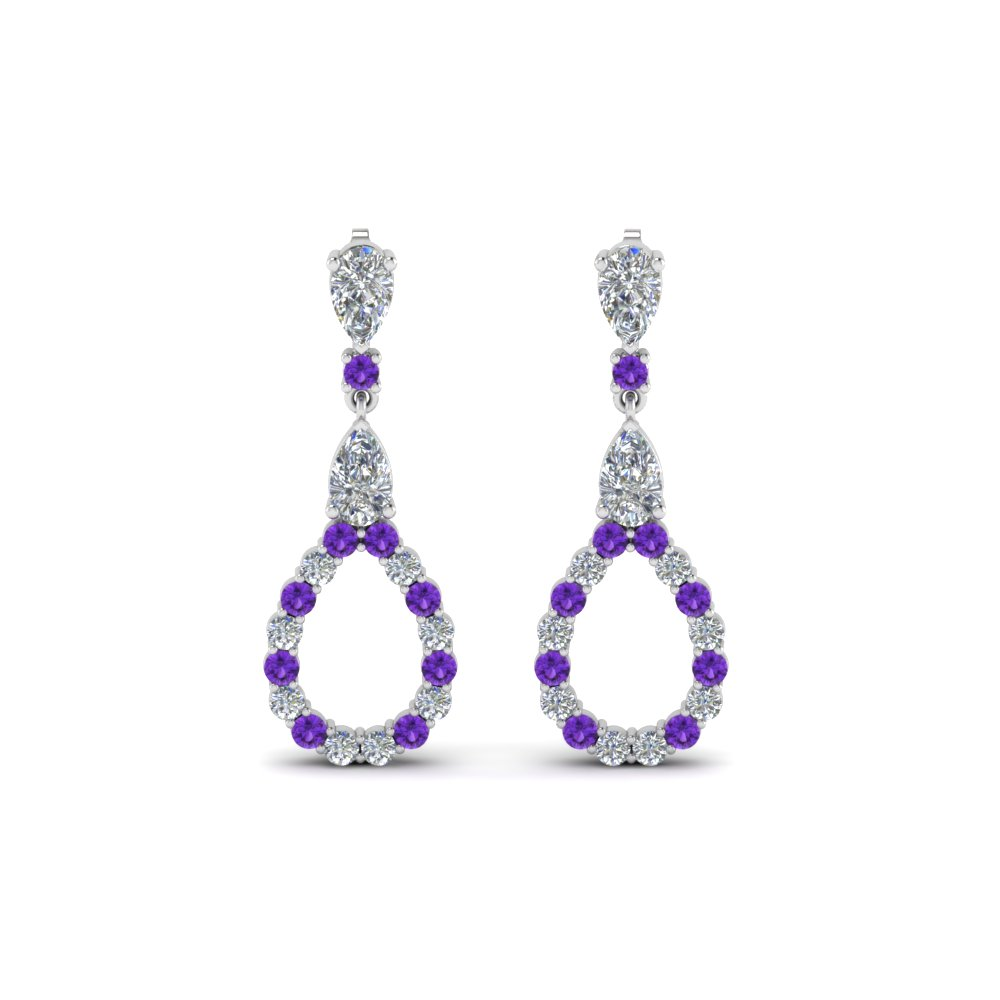 pear diamond drop earring for women with purple topaz in 14K white gold FDEAR8106GVITOANGLE1 NL WG